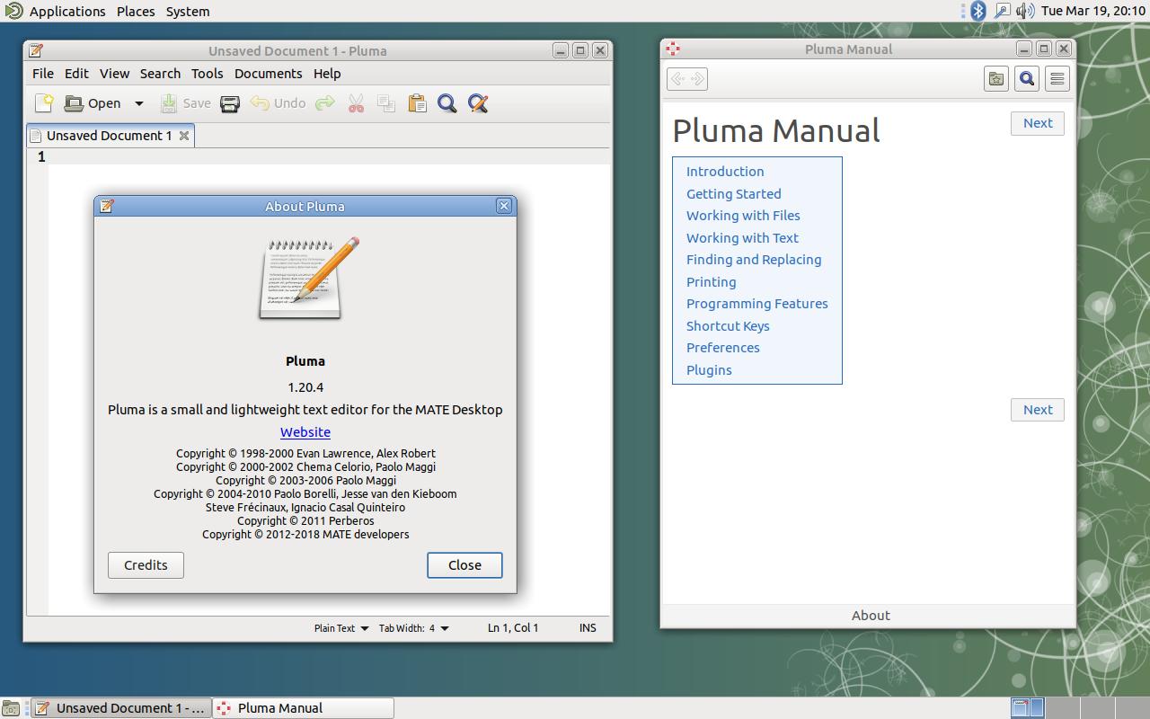 pluma text editor